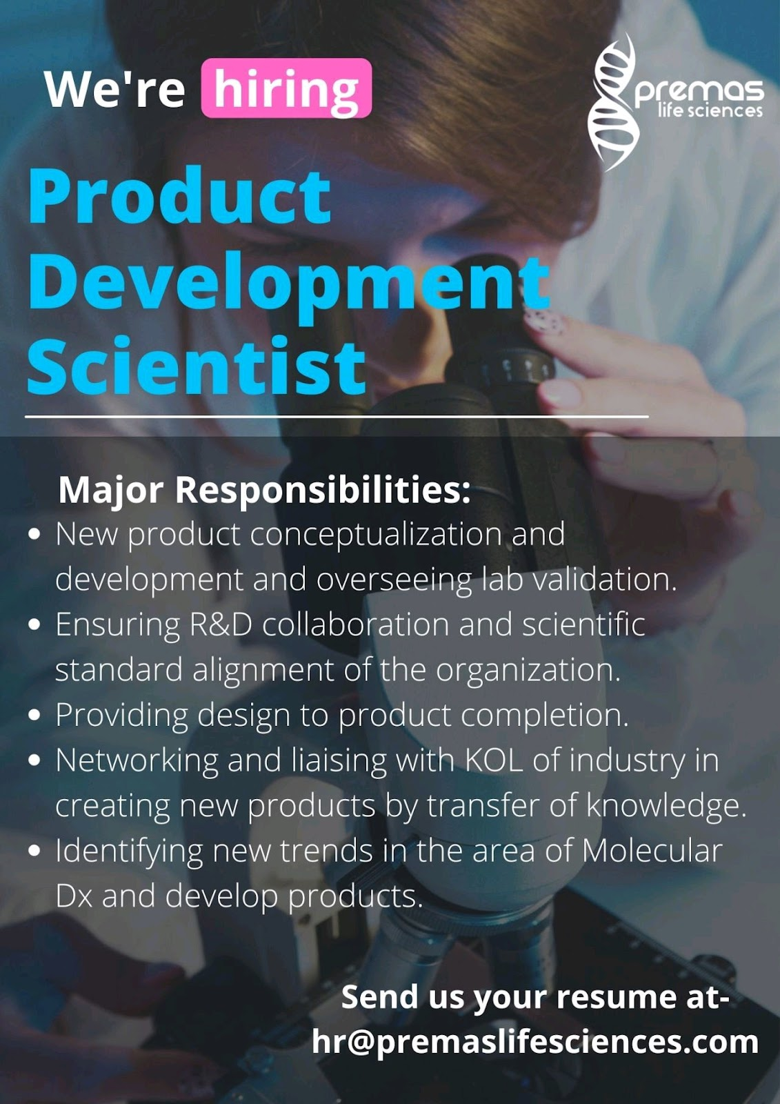 Opening For Product Development Scientist At Premas Life Sciences