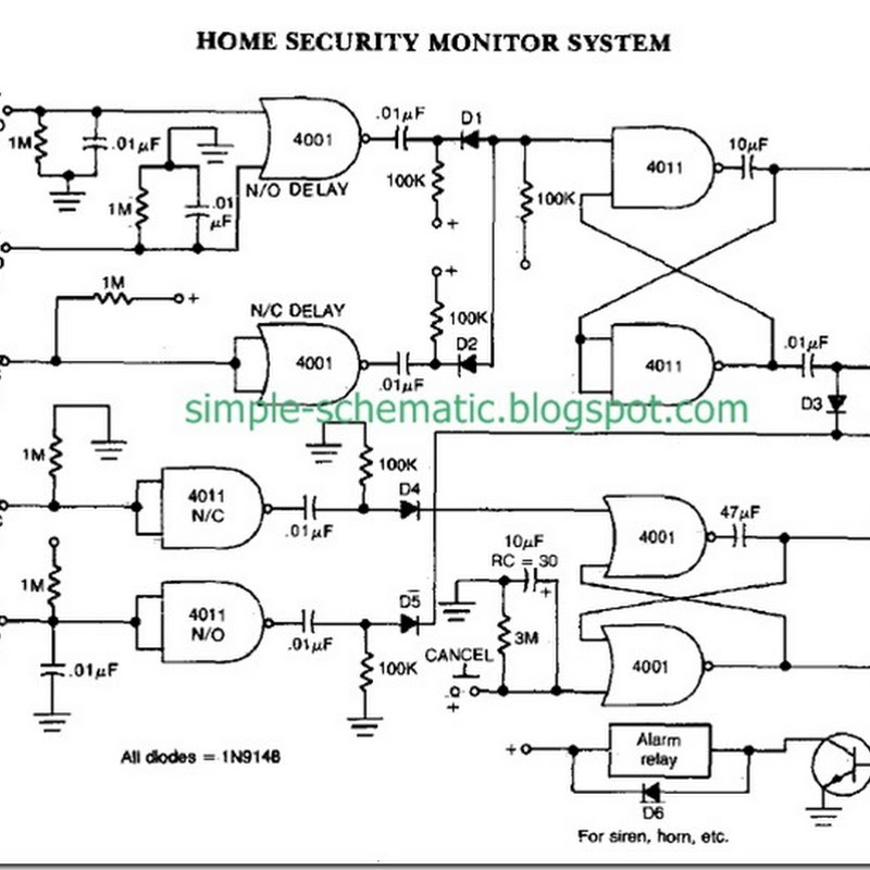 DIY Home Security Monitor System Circuit Diagram | Simple Schematic ...