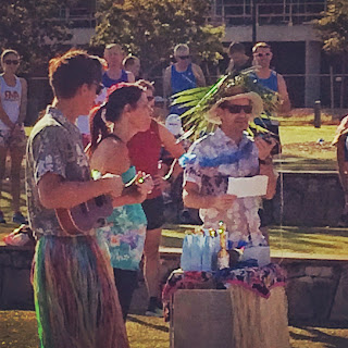 Grass skirts, hawaiian shirts, and a ukelele at North Lakes parkrun's birthday.