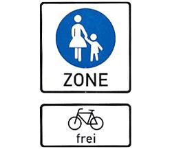 Fussgängerzone - Radfahrer frei