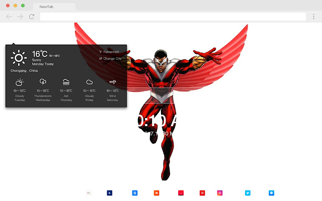 Falcon Top HD Marvel New Tabs Theme