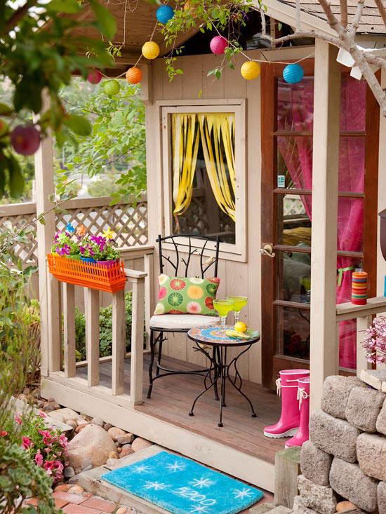 Decorar el exterior de la casita del jardín