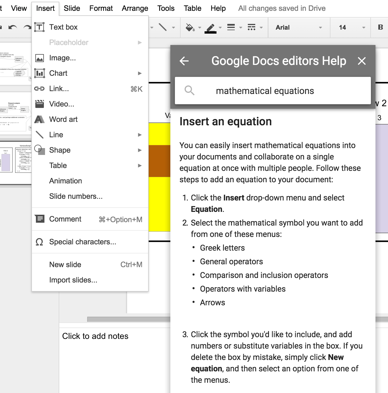 how to add an equation to google slides