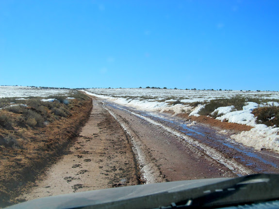 Sloppy road that was frozen during the drive in