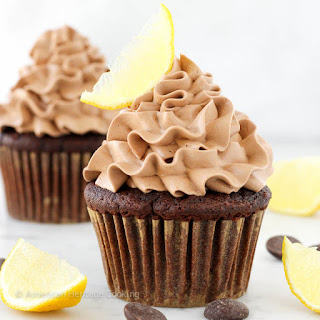 Double Chocolate Lemon Surprise Cupcakes