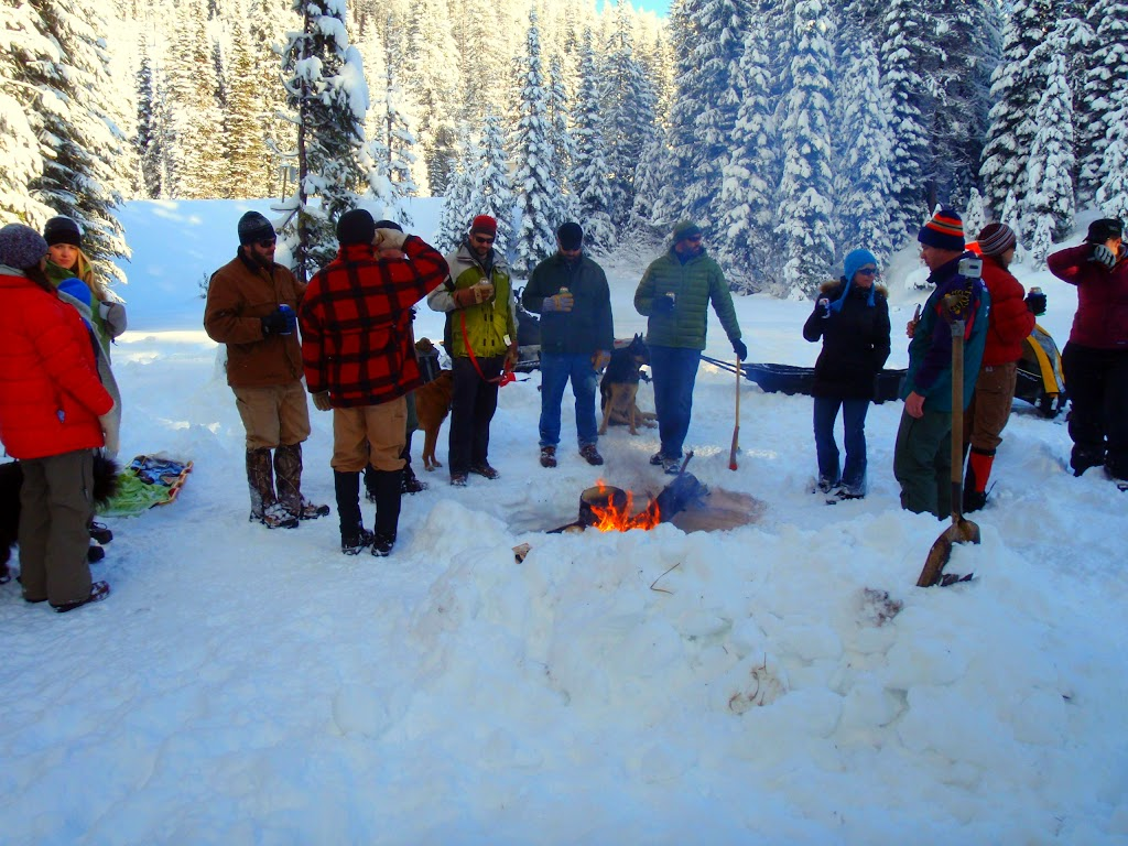 Snow, beer, a bonfire, and friends - the best kind of winter day in Montana.