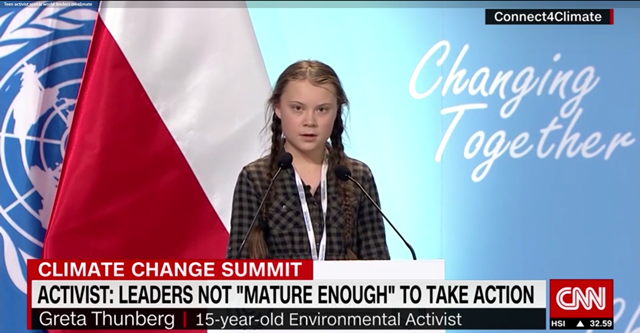 Greta Thunberg, a 15-year-old student from Sweden, speaks at the UN COP24 Summit, 15 December 2018. Photo: CNN