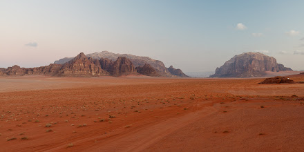 Photo: But it was worth the wait because we saw the dawn light change the desert views