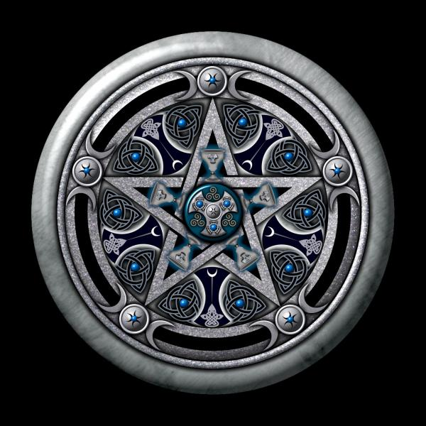 Feminine Silver Pentacle Square, Celtic And Druids