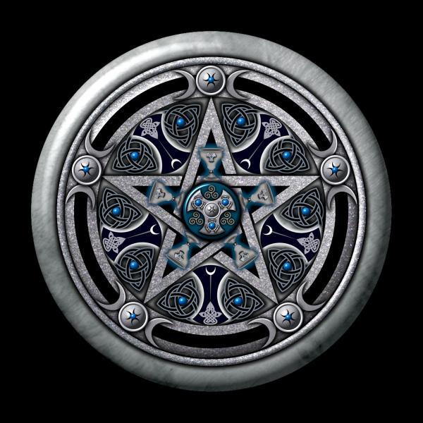 Feminine Silver Pentacle Square, Celtic And Druids
