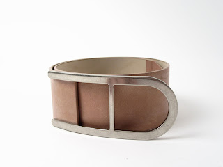 Maison Martin Margiela Wide Leather Belt in Taupe