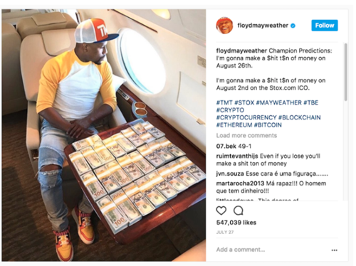 Floyd Mayweather (American Boxer) promoting bitcoin