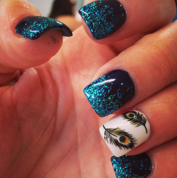 Today let's booty a attending at 15 abstruse calamus attach designs for  2017 with our pictures beneath and achievement you will like them all! - Mysterious Feather Nail Designs 2017 Trends - Styles Art