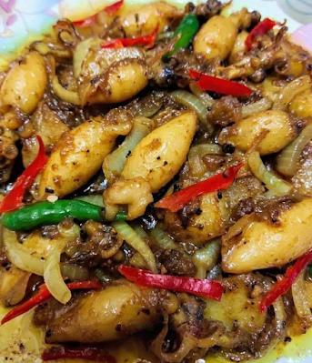 Sotong goreng berlada bersama ubi kentang