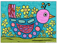 child's marker drawing of a patterned bird with flowers