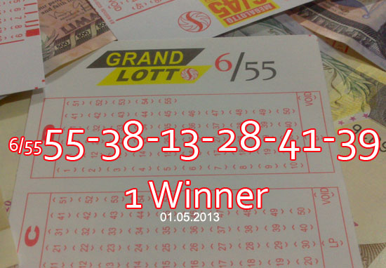 Lotto 6/55 - Results - Saturday, January 05, 2013