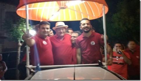 Tadeu, Deibi e o Papa Jerimum no evento de lançamento da campanha na Rua Itans