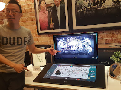 Eugene Soh, the dude himself from Dude.sg, showcases the Dell Canvas.