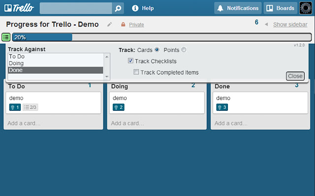 Progress for Trello
