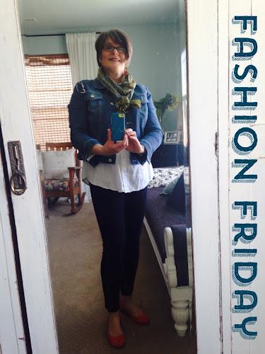 Fashion Friday, denim jacket and scarf, fashion for 50 somethings