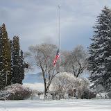 Flag at half mast at the cemetary.