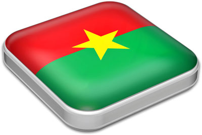 Flag of Burkina Faso with metallic square frame
