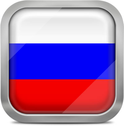 Russia square flag with metallic frame