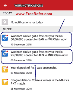 Dream11 free entry notification