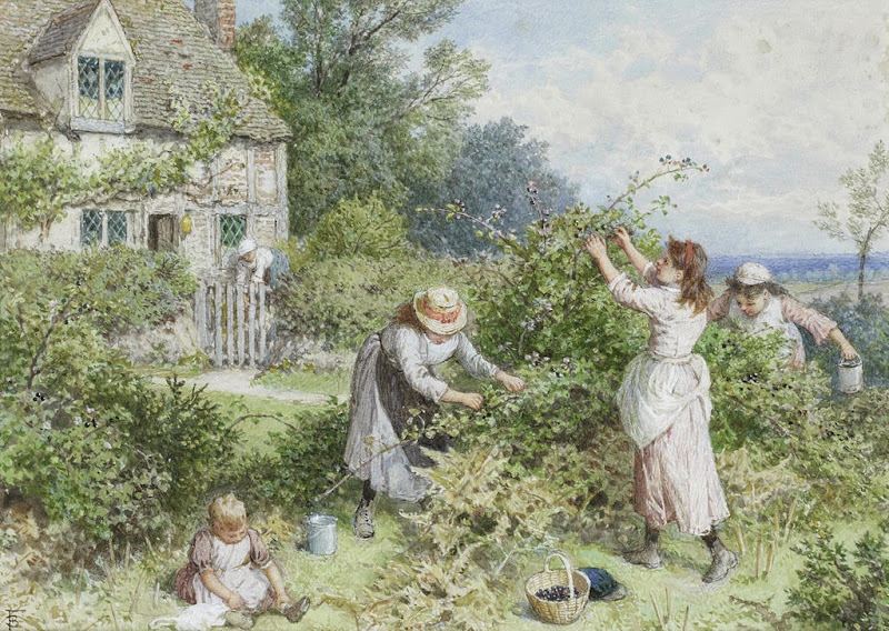Myles Birket Foster - Children gathering blackberries