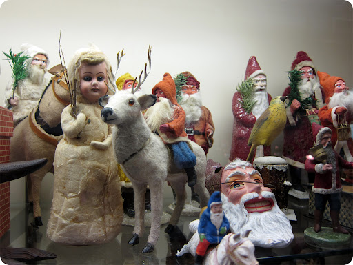 Old Christmas decor. Santa Collectibles: http://www.marthastewart.com/274534/santa-collectibles/@center/307035/santas-workshop