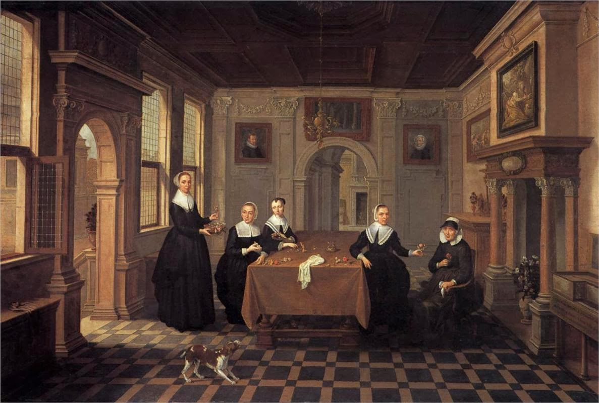 Esaias van de Velde - Five ladies in an interior