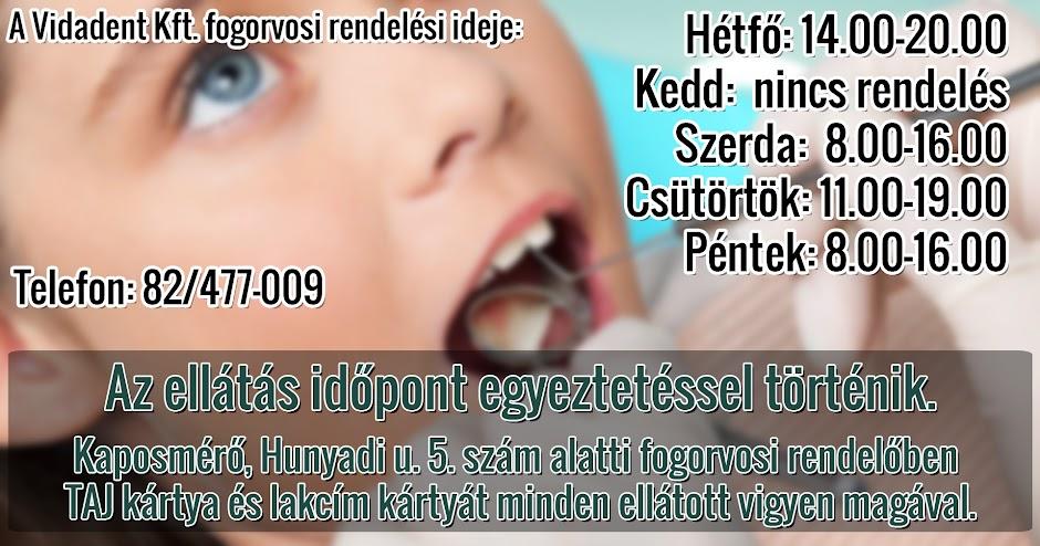 Vidadent Kft. fogorvosi rendelési ideje