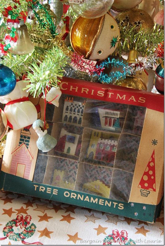 Vintage Christmas Houses displayed in Vintage Box