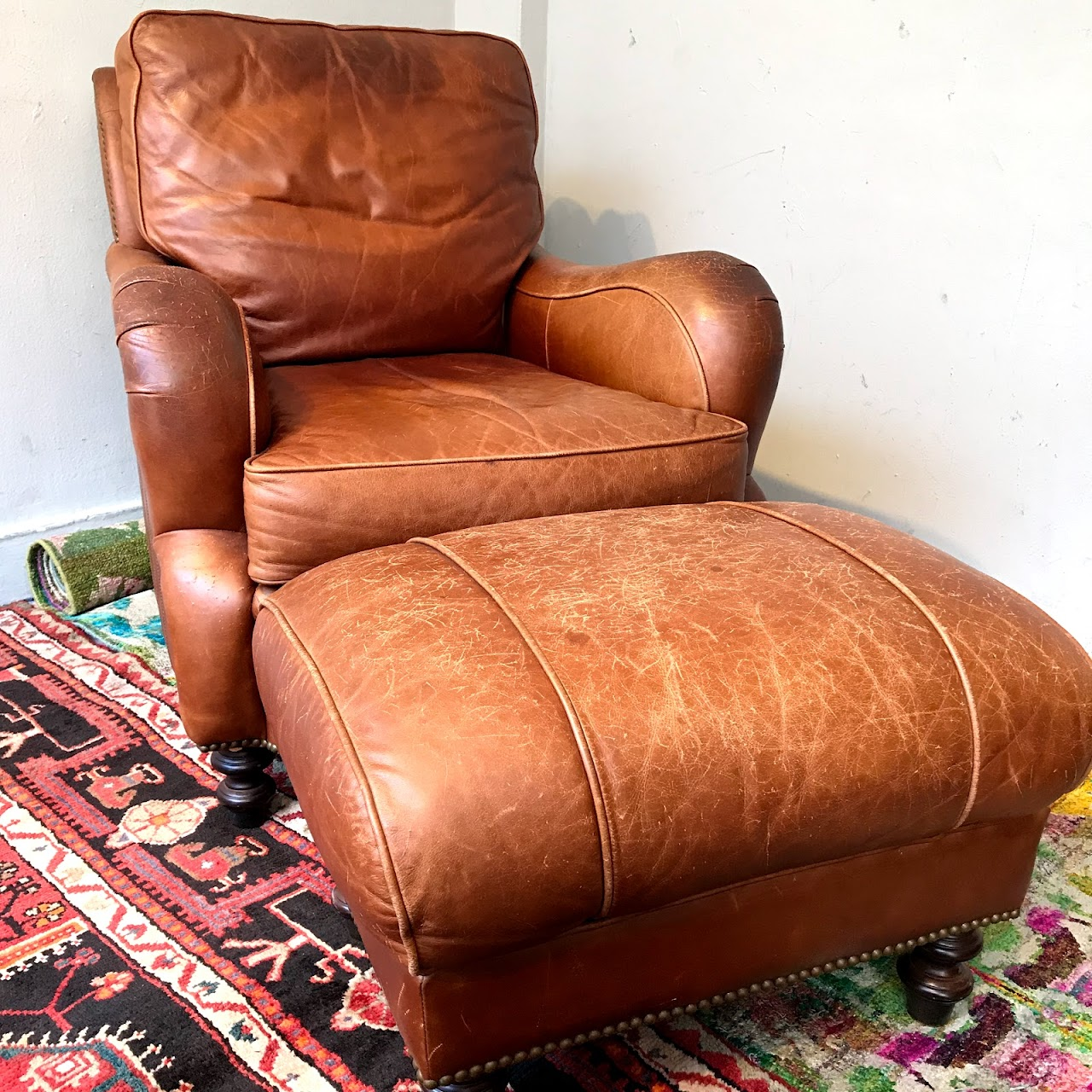 Incredible Distressed Leather Chair And Ottoman Camellatalisay Diy Chair Ideas Camellatalisaycom
