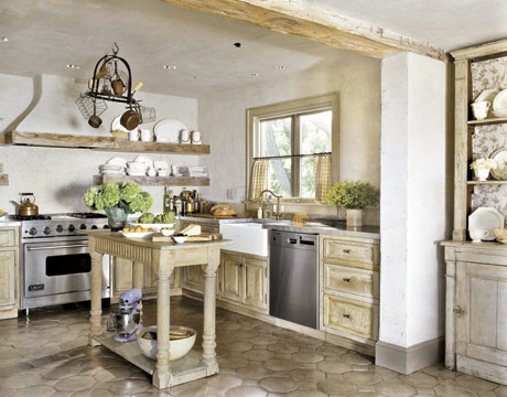 A Simple Stone And Stripped Wood Hood Was Here In Keeping With The Rustic Charming French Inspired Kitchen Country Living
