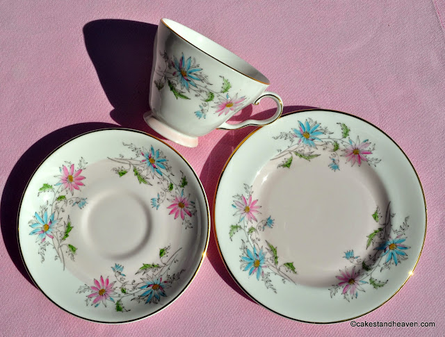 A.B.Jones Vintage Pink Footed Teacup Trio