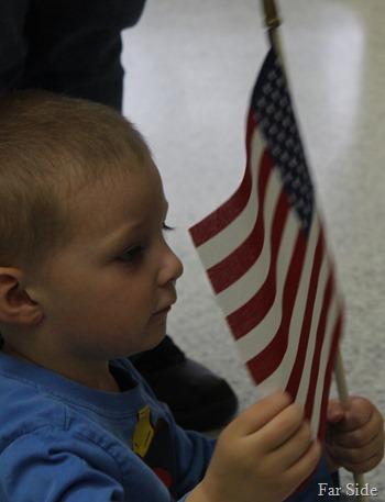 Teddy and a flag