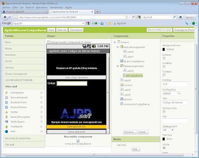 Diseño de la aplicación AjpdSoft Lector Códigos de Barras Android en Google App Inventor