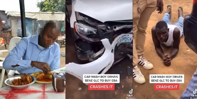 Gbas Gbos! Car Wash Guy wrecks his client's Benz GLC after he drove it to buy 'Eba and Ewedu' (Video)