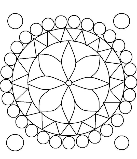 Design Coloring Pages For Teens  Rangoli Design Coloring Printable Page  For Kids