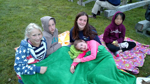 Gabriella with some of her camper friends. I'm not sure why Gabriella is frowning, but she's still adorable.