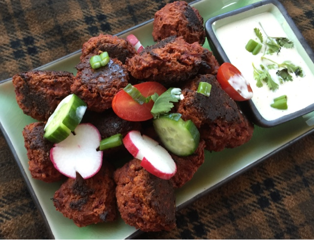 Kohlrabi Beet Spicy Chickpea Balls (Koftas) with Cucumber Yogurt Sauce
