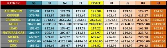 mcx commodity pivot levels for 3 feb 2017