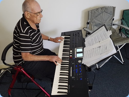 Our Host and Guest of Honour, Laurie Conder, playing his beloved Roland BK-9 arranger/keyboard.