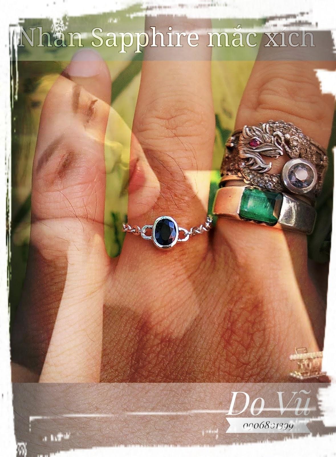 Nhẫn đá quý Sapphire thiên nhiên, bạc 925 dây xích xinh xắn