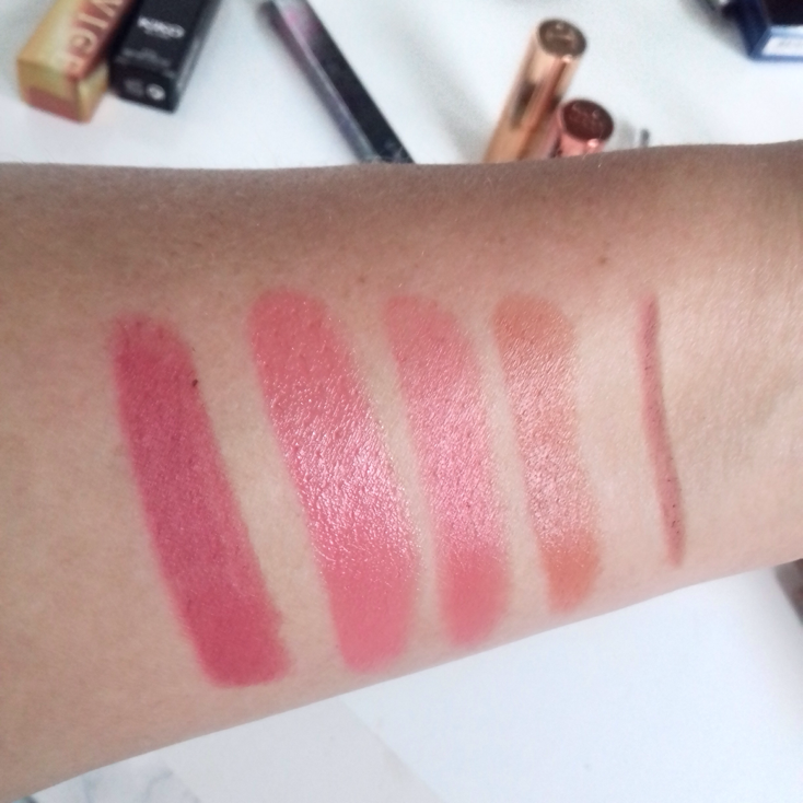 Swatches featuring Lipsticks: Featuring Kiko Glossy Dream, UD Fuel, Revlon Pink in the Afternoon and CT Bitten Kiss