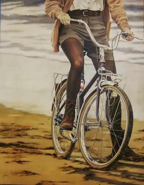 Asmar en bicicleta,obra al óleo de la pintora Marta Astrain