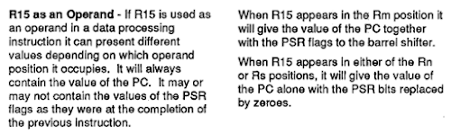 Depending on how it is accessed, register R15 in the ARM1 may or may not provide the flag values. From the manual.