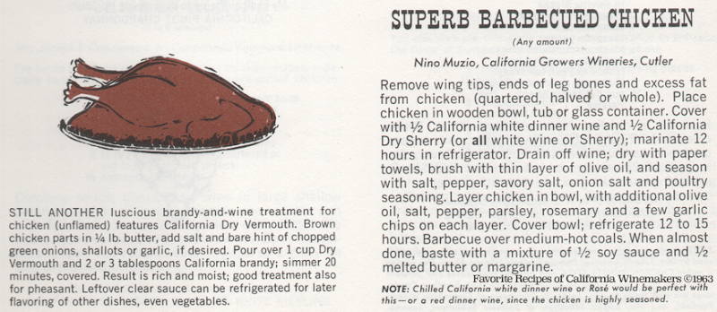 Wine Barbecued Chicken | Favorite Recipes of California Winemakers ©1963