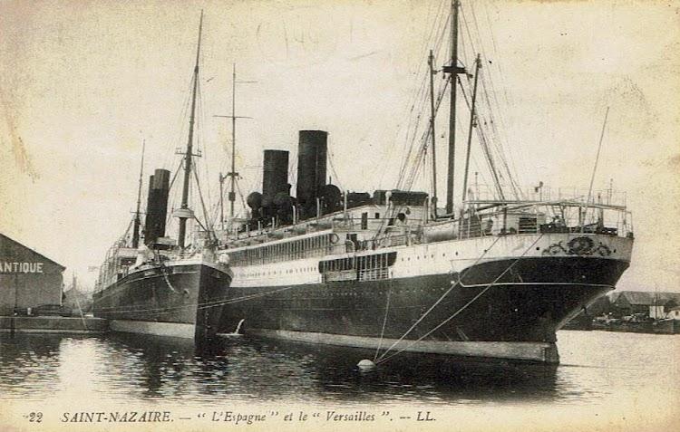 17- Saint Nazaire; el ESPAGNE abarloado al VERSAILLES. Comlección Alberto Paniagua.tif